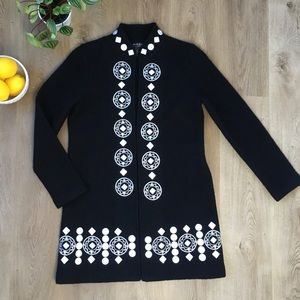 100% Wool Black Coat with White Embroidery MP